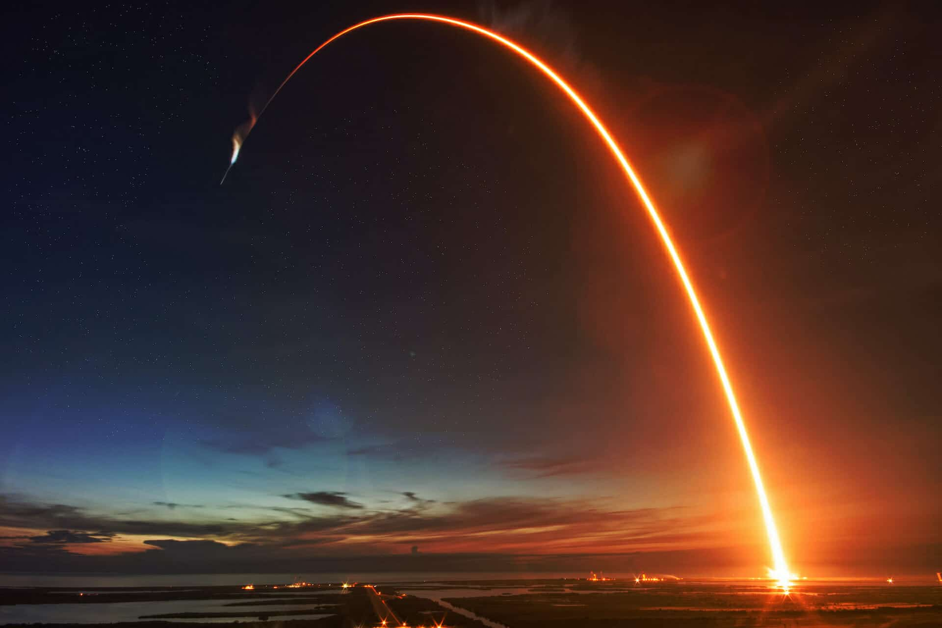 Missile launch at night. The elements of this image furnished by NASA.