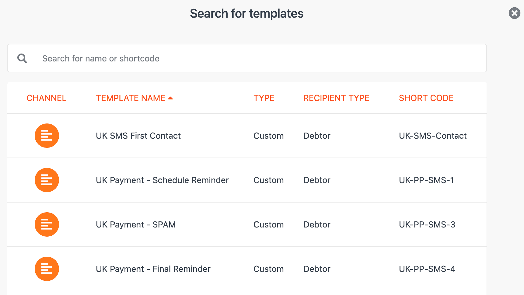 CollectIC Template search